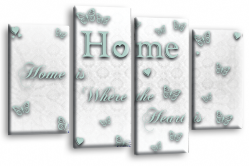Home Quote Wall Art Print White Duck Egg Love Split Picture